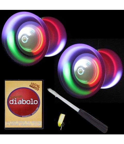 2 LED Taibolo Diabolos, DVD, Handsticks + 10m String