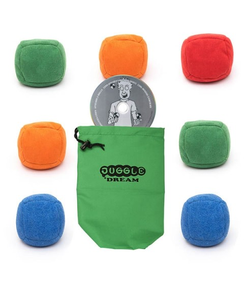 7 x Juggle Dream Uglies juggling ball + Instant juggler DVD + Bag