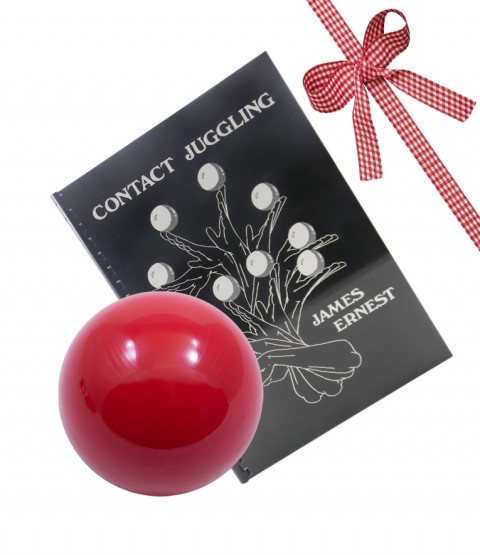 80mm Practice Contact Ball and Contact Juggling Book-Red