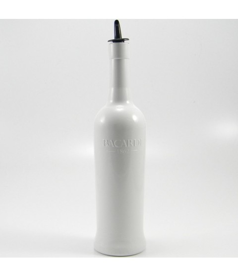 Flairco White Bacardi Flair Bottle - With Pour Spout