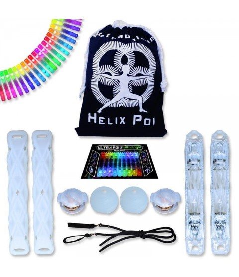 UltraPoi - Helix LED Poi w/ LED Swinging UltraKnobs - Multifunction LED Glow LED Poi