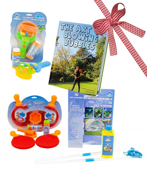 Indy Tri-String - Ping-Pong - Double Bubble Blower - Art Of Blowing Bubbles Book - RRP -£35.97