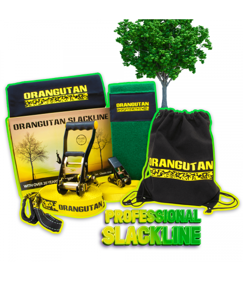 Orangutan Slackline 15m with tree protector and training line