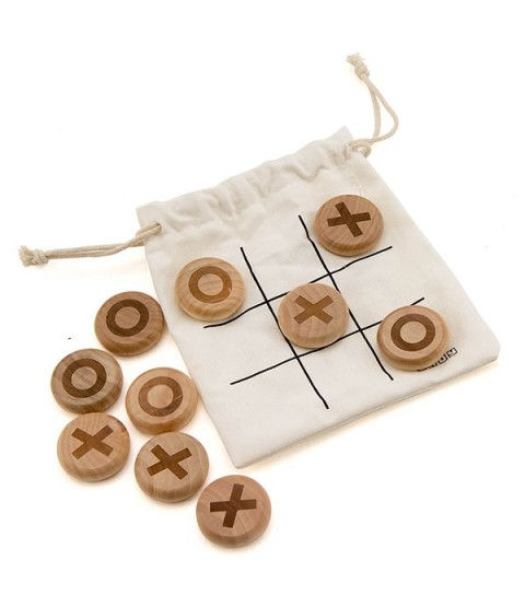 Indy X & O (Noughts & Crosses) Wooden Pebble Game - Skill Toys