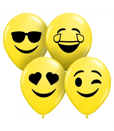 "Qualatex 5"" Yellow Smile Face Ballons - Assortment"