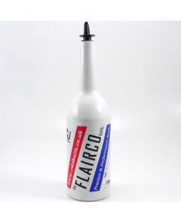 Flairco Malibu Flair Bottle - 1 Litre - White with Printed Logo and Pour Spout