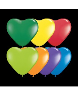 "Qualatex 6"" Heart Balloons -Carnival Assortments"