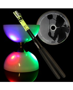 Lunarspin LED Diabolo Superglass Handsticks & DVD