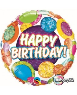 "Qualatex 18"" 'Big Dots & Glitz' Birthday Holographic Foil Balloon (various)"