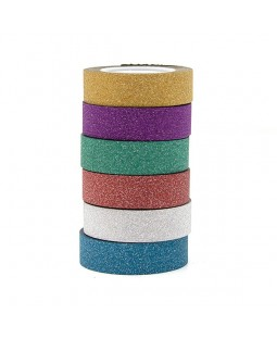 Top Flight 15mm X 10m Glitter Tape 6 Rolls Bundle- Spinning