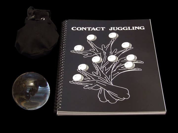 80mm Acrylic Contact Ball, Contact Juggling Book and a Contact Ball Bag