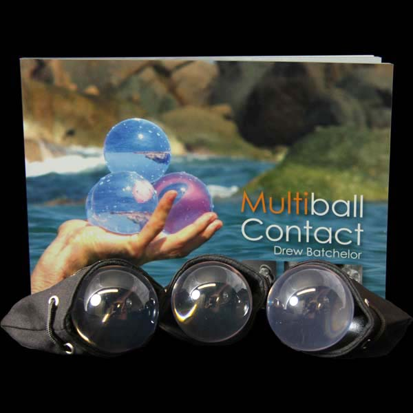 Three 75mm Acrylic Contact Balls, Multiball Contact Book and three Contact Ball Bags