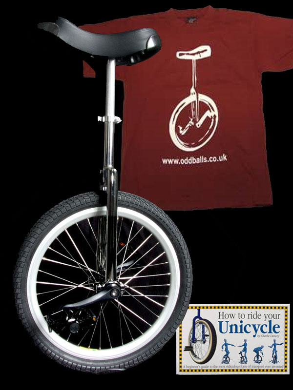 "Indy Freestyle 20"" unicycle with splined cranks, free T-shirt, free book & free carriage"