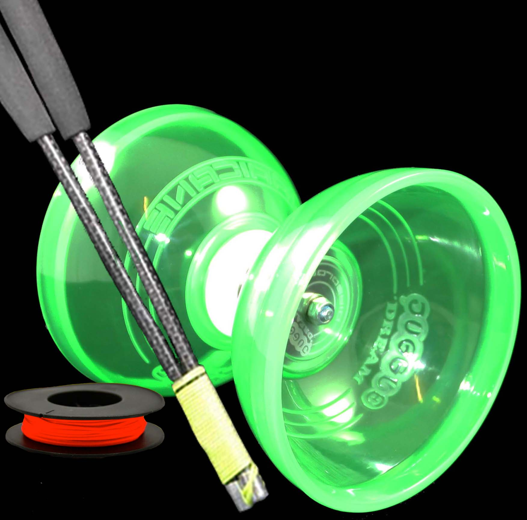 Jumbo Hurricane Triple Bearing Diabolo, Supergrind Carbon Handsticks and 5m String